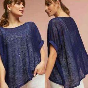 ANTHROPOLOGIE Akemi + Kin Bratton Blue Lace Top XS